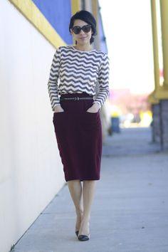 Chevron sweater & burgundy midi skirt - Fall/Winter