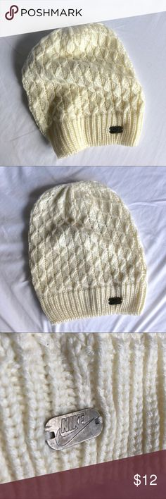 Nike slouchy beanie Super soft slouchy beanie from Nike. I wore it once but found it doesn't fit my head very well. The black and gray photos are simply to show fit and structure.   Pet and smoke free home.  All offers considered ✨ Nike Accessories Hats