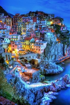 Manarola, Cinque Terre, Italy (This looks like a city in a Pokemon game!)