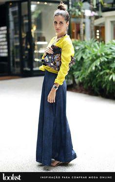 saia longa + sweater + amarelo + azul