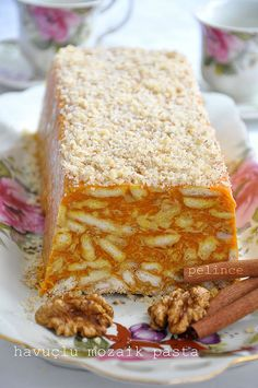 havuçlu mozaik- mosaic cake with carrots - Kuchen Rezepte 2020 Pasta Cake, Cake Recipes, Dessert Recipes, Delicious Desserts, Yummy Food, Turkish Recipes, No Bake Cake, Food To Make, Food And Drink