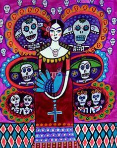 50 off  Day of the Dead  art Panel Poster of por HeatherGallerArt, $20.00