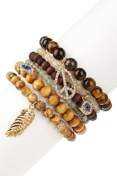 Peace forever wood & honey bead stackable stretch bracelet set. Cool idea to add the little charms. I like the color combo, too.