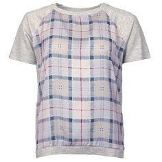 Barbour Iona Tartan Top - The front panel has been printed with a watercolour version of the print in a gorgeous combination of pinks and purples, which have then been combined with light great sleeves, back panel and trim.
