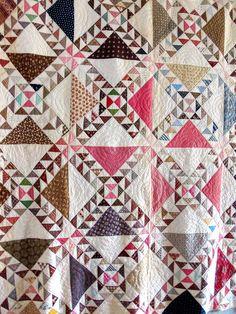 Antique Handmade Wild GOOSE Chase Quilt Pinwheel Illusion QuiltI; late…