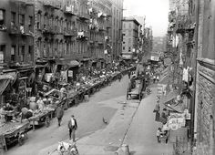 "Little Italy: New York circa 1905. ""Mulberry Street. Italian neighborhood with street market."" 5x7 inch dry plate glass negative, Detroit Publishing Company."