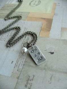 www.MyBellaMarketplace.com  #MyBellaMarketplace  On This Day Custom Hand Stamped Anniversary, Kids' Birthdate, Religious, Sobriety Necklace with Freshwater Pearl by MyBella