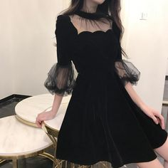19 New Summer Dress Women Korea Chic Solid Black Ladies Mash Patchwork O-Neck Ha. 19 New Summer Dress Women Korea Chic Solid Black Ladies Mash Patchwork O-Neck Half Pull Sleeve Empire Vintage Fashion Dresses Mode Outfits, Dress Outfits, Casual Dresses, Fashion Dresses, Dresses Dresses, Dresses Online, Swag Outfits, Pretty Outfits, Pretty Dresses
