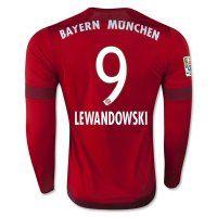 Bayern Munich 2015-2016 Season LEWANDOWSKI #9 LS Home Soccer Jersey [B978]