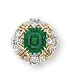 AN EMERALD AND DIAMOND RING, BY JEAN SCHLUMBERGER, TIFFANY & CO.  The openwork bombé ring set to the centre with a rectangular-shaped emerald, within a brilliant and marquise-cut diamond floral surround, mounted in 18k white and yellow gold