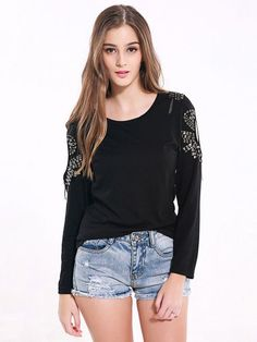 Lztlylzt Women Casual Hollow Beading O-neck Long Sleeve Tops