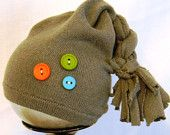 Upcycled Gray Newborn Hat With Buttons