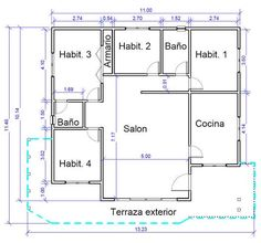 Cada Cocina es Única Home Design Floor Plans, Simple House Design, New House Plans, Autocad, My Dream Home, My House, New Homes, How To Plan, Architecture