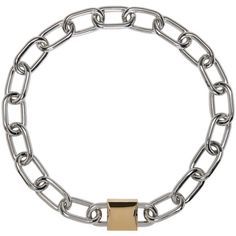 Alexander Wang Silver and Gold Double Lock Necklace ($575) ❤ liked on Polyvore featuring jewelry, necklaces, silver, lock charm, 24k jewelry, lock charm necklace, charm jewelry and gold and silver necklace