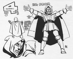 Alex Toth designs for the 1967 Hanna-Barbera Fantastic Four cartoon show; The Skrulls & The Super-Skrull, The Watcher, Doctor Doom, Diablo & The Red Ghost. (From Alex Toth: By Design, by the artist & Darrell McNeil. Hanna Barbera, Comic Book Artists, Comic Artist, Comic Books Art, Red Ghost, Badass Movie, D Mark, Alex Toth, Saturday Morning Cartoons