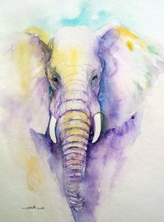 Original Elephant Painting Watercolor Purple 9x12 by artiart