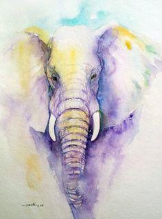 Original Elephant Painting Watercolor Purple 9x12 by artiart