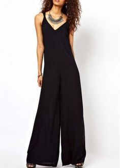 Sexy V Neck Spaghetti Strap Design Black Jumpsuits  on sale only US$20.96 now, buy cheap Sexy V Neck Spaghetti Strap Design Black Jumpsuits  at martofchina.com