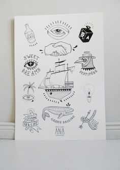 FLASH TATTOO Boat Art Print by LaCHANCEgalerie on Etsy, €15.00