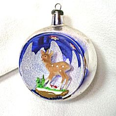 Italy Fawn Deer Diorama Scene Indent Glass Christmas Ornament