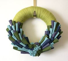 Peacock Felt Wreath Yarn with Green Blue by TheBakersDaughter