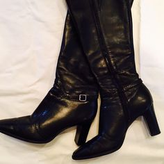 Black zip heeled boots Very comfortable only worn 4 times (I have a lot of black boots) Nine West Shoes Heeled Boots
