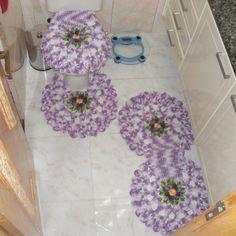 Jogo de tapetes de crochê em barbante barroco com flores para banheiro