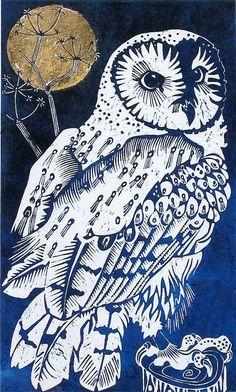 Barn Owl by Olivia Clifton-Bligh (illuminated colour linocut)
