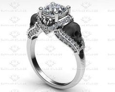 'Amora' 1.65ct White Diamond White Gold Skull Engagement Ring