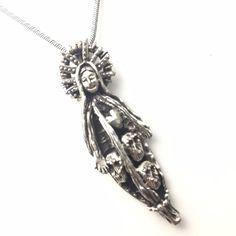 Virgin Mary necklace with sugar skulls in pod Frida inspired