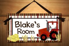 Big Red Tractor Boys Farm Bedroom DOOR SIGN Wall Art. $14.00, via Etsy.