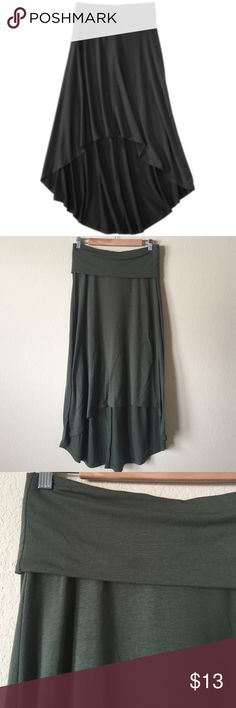 """Mossimo High Low Maxi Skirt Good condition! Army green. Very comfy! High in from low in back. Measures 37"""" long from waist at lowest point. Stretch elastic waist, that folds over. Mossimo Supply Co Skirts Asymmetrical"""