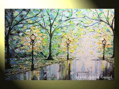 ORIGINAL Abstract Modern #Art Abstract Painting Trees Rain Spring Park Lights Night Blue Green Palette Knife Textured Paintings Home Decor Wall Art by Artist Christine Krainock