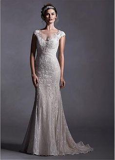 Vestido de novia de tul y encaje Scoop escote cintura natural sirena elegante con apliques de encaje