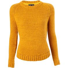 Tommy Hilfiger Takara crew neck sweater ($90) ❤ liked on Polyvore featuring tops, sweaters, shirts, blusas, knitwear, yellow, long sleeve sweaters, long sleeve crew neck sweater, shirts & tops and crew neck shirts