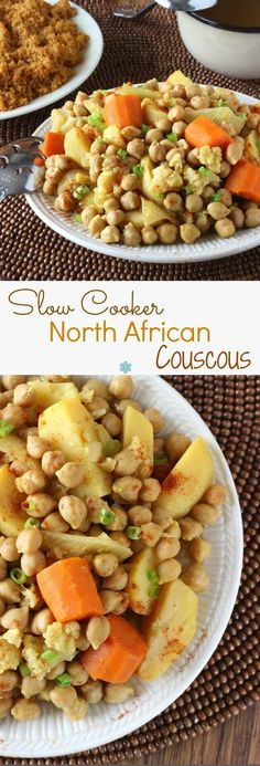 North African Couscous is rich in flavors and so easy to prepare. Vegetables, juices and spices goin the crock pot. At dinner, serveoverinfused couscous. ~ http://veganinthefreezer.com
