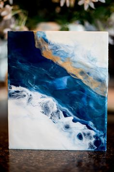 Encaustic Fine Art Gallery » Michelle Huber Photography Blue Teal and Gold Wave Encaustic painting 9×12 on 1.5 inch cradled board