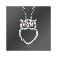 "Diamond Owl Necklace 16"""