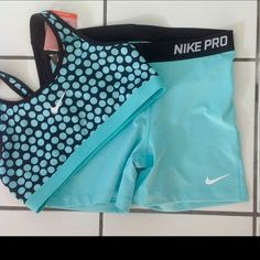 "NWT Turquoise Blue Nike Pro 3"" Shorts/Bra Shorts & matching bra are both size LARGE, brand new with tags, and in excellent condition! Nike Shorts"