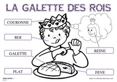 Vocabulaire de la galette des rois 17 fiches pour la maternelle (PS, MS GS) pour découvrir, lire et écrire les mots du vocabulaire de l'épiphanie (roi, reine, galette des rois, fève, part, plat, couronne. )
