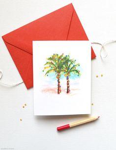 Unique Christmas Cards  Set of 8 Beach Christmas by MospensStudio