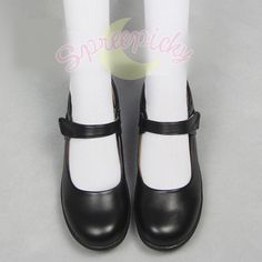 Free shipping worldwide!  Super match for any cosplay or Lolita costume.  Material: made of human made PU leather  Color: Black  Height of heel: 2 CM/0.79  Size for choices:  Please measure your foot length and choose the right size option.  Foot length of 22cm/8.66  Foot length of 22.