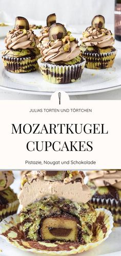 Mozartkugel cupcakes with pistachio-chocolate marble muffin Recipe for Mozartkugel cupcakes. Pistachio chocolate marble muffin with Mozart ball filling and creamy nougat mascarpone topping. Mozartkugel cupcakes with pistachio and chocolate marble m Muffin Recipes, Cupcake Recipes, Cookie Recipes, Best Chocolate Cupcakes, Chocolate Sweets, Chocolate Frosting, Fall Desserts, Savoury Cake, Mini Cakes
