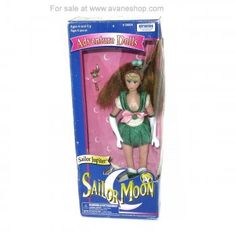 Sailor Moon Doll 6 inch Sailor Jupiter Tall Style Doll in Box with Wand Irwin Sailor Moon Toys, Price Sticker, Dolls For Sale, Sailor Jupiter, Blue Box, Long Legs, Wands, 6 Inches, Baseball Cards
