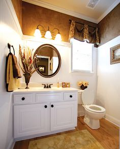 bathroom...paint top portion brown like this