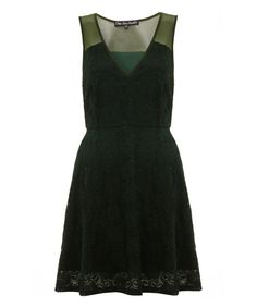 Look what I found on #zulily! Green Lace Overlay A-Line Dress #zulilyfinds