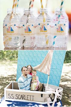 """""""Row Your Boat"""" First Birthday Party with sweet yellow and pink sailboats, bunting garlands and a hand crafted cardboard """"photo booth"""" ship!"""