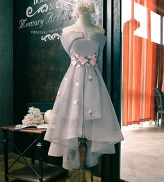 Grey Tea Length Handmade Embroidery Homecoming Dress Graduation