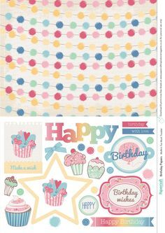 Birthday free printable papers from Papercraft Inspirations 151 Papel Scrapbook, Printable Scrapbook Paper, Digital Scrapbook Paper, Printable Paper, Scrapbook Paper Crafts, Digital Papers, Craft Papers, Scrapbooking, Digital Paper Free
