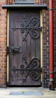 Hamburg, Germany. Old wooden door.